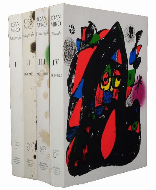 Four-volume set of Joan Miro (Spanish, 1893-1983) lithographs, Fernand and Michel Mourlot, Barcelona. First edition in Spanish. Image courtesy of Gray's Auctioneers.