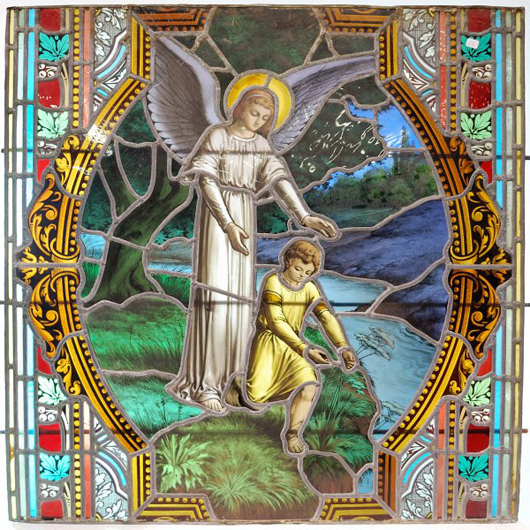 Exquisite 19th-century French church stained glass panels at the auction include this scene of a guardian angel and child. It has a $1,000-$1,500 estimate. Image courtesy of Morton Kuehnert Auctioneers & Appraisers.