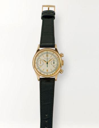 Patek Philippe, Ref. 1463, was the company's only vintage waterproof chronograph. Made in 1953, this fine and rare men's watch in 18K gold has a $148,000-$203,000 estimate. Image courtesy of Patrizzi & Co. Auctioneers.