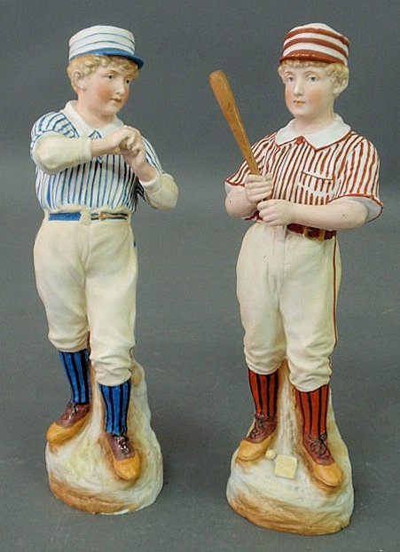 The impact of baseball on American culture is evident in these Heubach porcelain figures, which stand 13 inches high. The pair has a $1,500-$2,000. Image courtesy of Wiederseim Associates Inc.