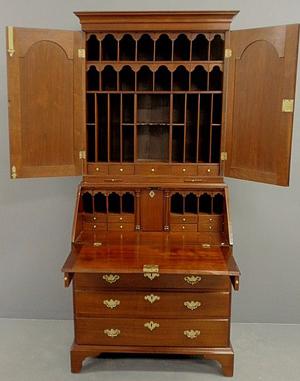 The unusual interior configuration makes this mid-18th-century Queen Anne walnut secretary bookcase unusual. It has a $8,500-$10,000 estimate. Image courtesy of Wiederseim Associates Inc.