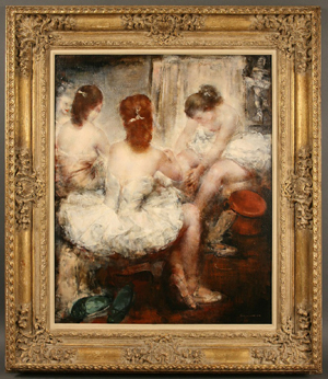 'Dressing Room' by Grigory Gluckmann (Russian-American, 1898-1973), oil on panel, 24 5/8 inches by 29 3/4 inches, 34 1/2 inches by x 40 inches framed. Est. $60,000-$80,000. Image courtesy of Case Antiques Auctions and Appraisals.