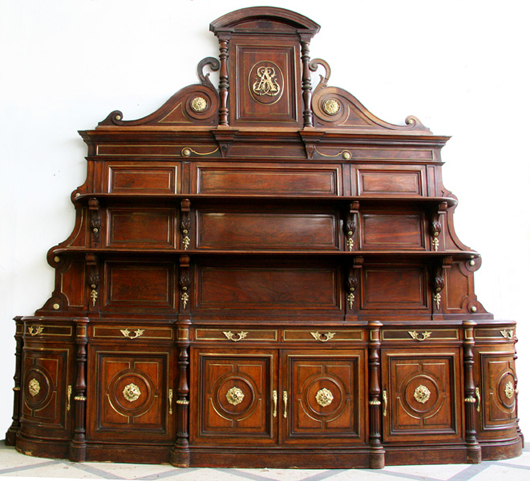 One of a pair of similar monumental rosewood sideboards, this circa-1875 French piece with central cast-iron rosette sold for $7,200, with 20-percent premium, when Kamelot auctioned off the contents of an exclusive club following a billionaire breakup. Image courtesy Kamelot.