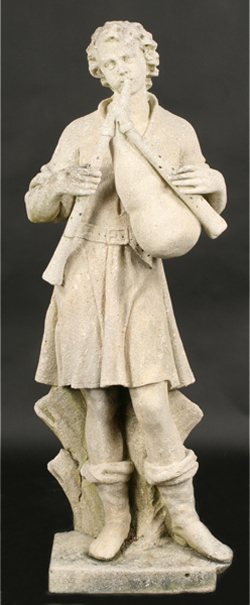 This carved stone statue of a young man playing bagpipes got the April 24, 2010 auction at Kamelot off to a rousing start, making $5,280, with premium, against a $1,000-$1,500 estimate. Image courtesy Kamelot.