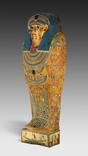 A huge golden face of Meretites, a third century B.C. noblewoman, is painted on her 7-foot-tall outer coffin. Image courtesy of Nelson-Atkins Museum of Art.