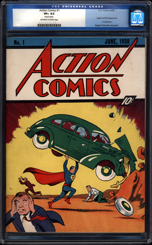 This copy of Action Comics #1, featuring the first appearance of Superman, is graded 8.5 out of 10. It is, to date, the most expensive comic book ever sold, having been purchased from ComicConnect.com for $1.5 million in March 2010. Image courtesy of ComicConnect.
