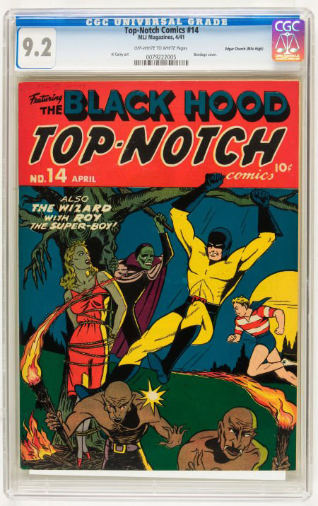 Top-Notch Comics #14 (MLJ, 1941), with provenance from the fabled Edgar Church Mile High collection, is graded NM 9.2. It will be offered in Heritage Auction Galleries' May 20, 2010 Comics and Comic Art saleEstimate: $1 to $1 million. Image courtesy Heritage Auction Galleries.