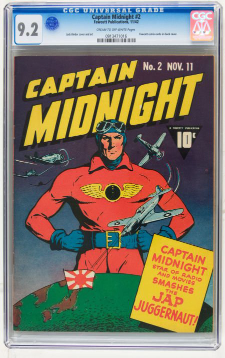 Captain Midnight #2 (Fawcett, 1943) in NM 9.2 condition, is one of the highlights in Heritage Auction Galleries' May 20, 2010 Comics and Comic Art sale. Estimate: $1 to $1 million. Image courtesy Heritage Auction Galleries.