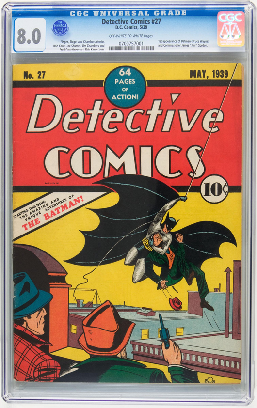 On February 25, 2010, this copy of Detective Comics #27, with the first appearance of Batman, became only the second comic book to sell for $1 million or more when it closed at $1,075,500 through Heritage Auction Galleries. It held the top spot for about a month. Image courtesy Heritage Auction Galleries.