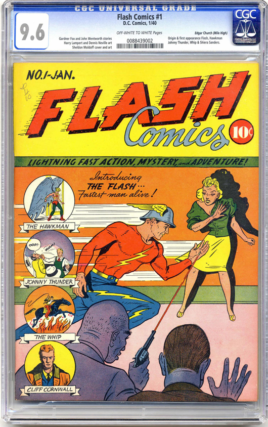 Cover dated January 1940 and graded an unusually high 9.6, this first appearance of The Flash comes from the Edgar Church (or Mile High) pedigree collection. It sold for $450,000 in March 2010 after previously selling for $273,125 in January 2006. Image courtesy Heritage Auction Galleries.