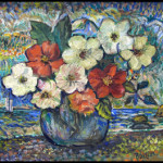 David Burliuk (Russian/American, 1882-1967), 'Flowers on the Beach,' oil on canvas board, signed, 15 by 17 1/4 inches, est. $7,000-$10,000. Image courtesy of William Jenack Estate Appraisers and Auctioneers.