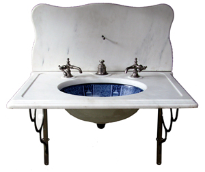 Extremely rare and complete circa-1880 flow blue sink. Mosby & Co. image.