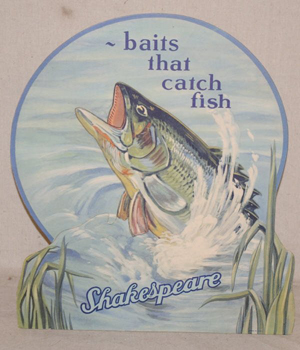 Shakespeare brand fishing equipment has been manufactured since 1896. Early advertising like this countertop advertising display is a prize catch. Image courtesy of Burley Auction Group and LiveAuctioneers Archive.
