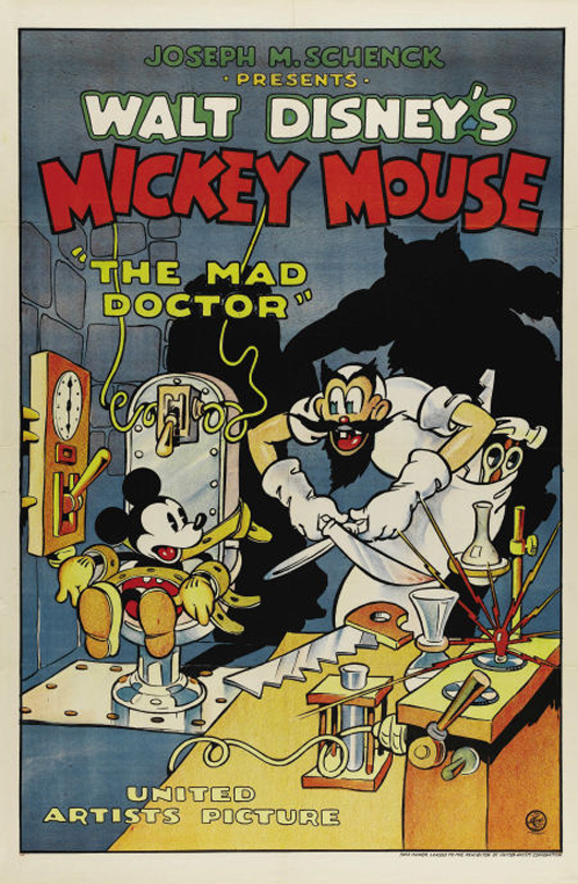 United Artists released Walt Disney's Mickey Mouse cartoon The Mad Doctor in 1933. The 27