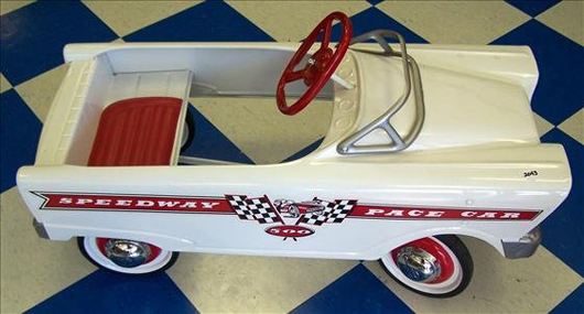 This Speedway Pace Car is a reproduction of a pedal car. It is in excellent condition and carries a $150-$300 estimate. Image courtesy of Harrison Auctions Inc.