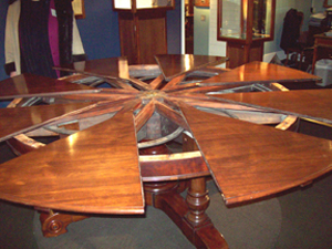 """This is the famous """"Jupe's pattern table"""" seen at M. S. Rau Antiques in New Orleans."""