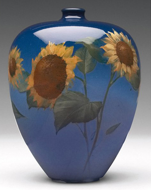 Rookwood's impressed logo, date, shape number and artist Kataro Shirayamadani's signature are on the bottom of this 5 1/2-inch vase. It has a $2,000-$3,000 estimate. Image courtesy of Treadway Gallery.