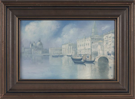 'On the Riva' is the title of this Venetian scene painted on a Rookwood Vellum glaze plaque by Ed Diers. It is 20 1/2 inches by 15 inches, including frame. The estimate is $15,000-$20,000. Image courtesy of Treadway Gallery.