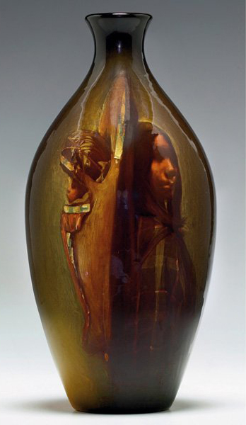 Rookwood artist Grace Young titled this portrait 'Ute Squaw + Papoose,' which she painted on an 11-inch vase dated 1898. This classic example of Rookwood Standard glaze has a $6,000-$8,000 estimate. Image courtesy of Treadway Gallery.