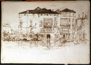 John McNeill Whistler (American, 1834-1903), The Palaces, etching on antique Dutch laid paper, from the First Venice Set. Sold by Creighton-Davis Gallery. Image courtesy of LiveAuctioneers.com Archive and Creighton-Davis Gallery.