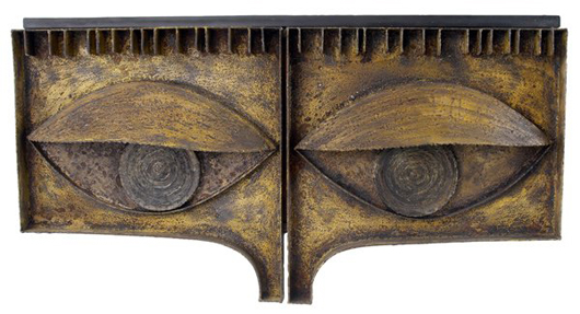 A hanging welded 'eye' cabinet sold for $60,000 in the April 12, 2008 sale at Rago in Lambertville, N.J. It was consigned by Dorsey Reading, who worked with Evans. Image courtesy of Rago Arts.