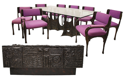 Ten-piece sculpted bronze dining suite, made in 1970 and featuring a Stalagmite glass-top dining table, eight dining chairs with purple micro-suede seats and backrest; and a sideboard with two slate tablets and bi-fold doors concealing interior shelves. Signed 'PE 70.' Offered as three lots, total selling price: $59,225. Image courtesy of Austin Auction Gallery.