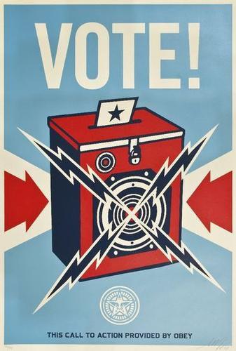 Shepard Fairey (b.1970), 'Vote (Radio),' 2008. Estimate: $1,000-1,500. Image courtesy Bloomsbury Auctions.