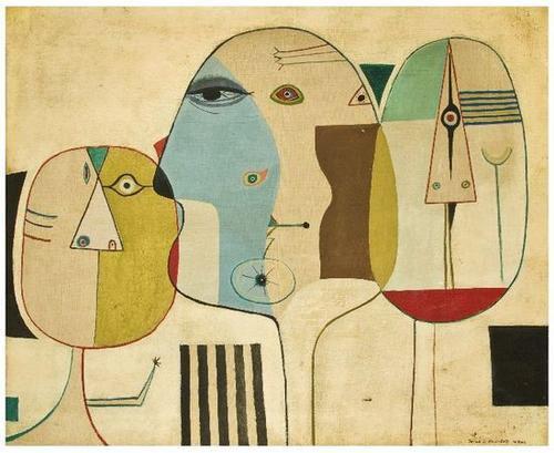 Conrad Marca-Relli (1913-2000), 'Untitled (Figures),' 1948. Estimate: $20,000-30,000. Image courtesy Bloomsbury Auctions.