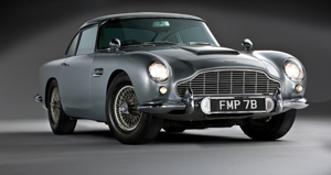 James Bond's Aston Martin, front view, image copyright Shooterz. Car to be auctioned Oct. 27 by RM Auctions.
