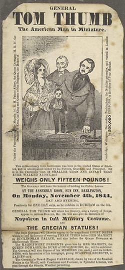 A rare British Tom Thumb 'The American Man in Miniature' handbill realized $180 in Cowan's 2004 Spring Historical Americana Auction. Image courtesy Cowan's Auctions Inc.