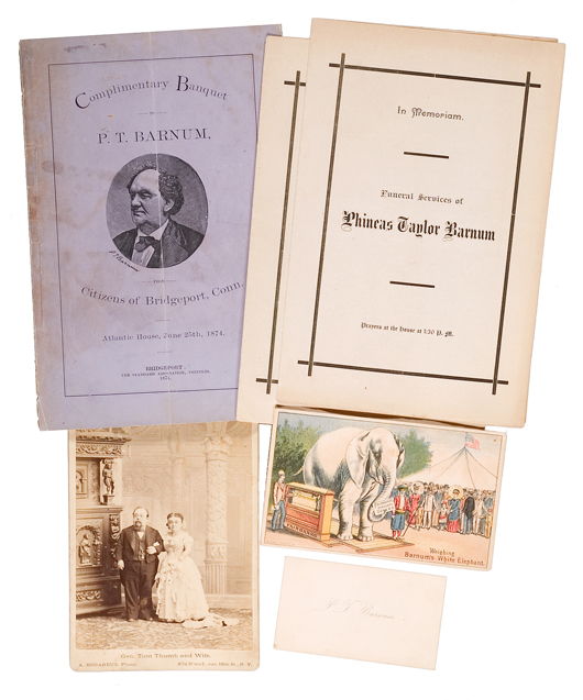 This group of P.T. Barnum ephemera sold for $390 at Cowan's 2006 Spring Historical Americana Auction. Image courtesy of Cowan's Auctions Inc.