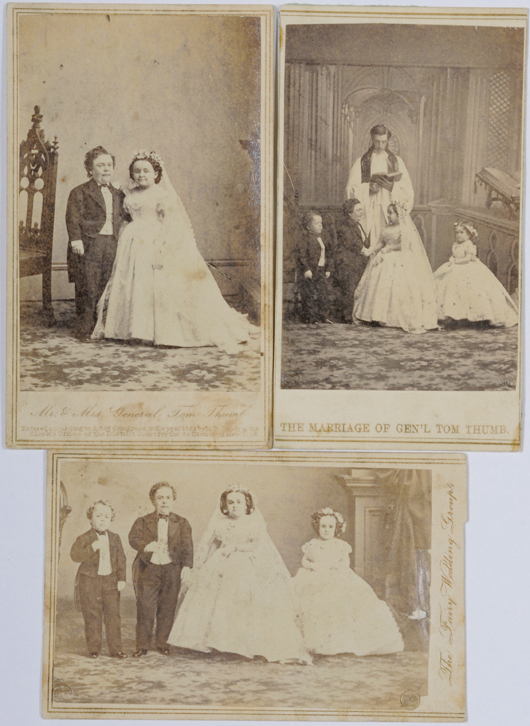 Three Tom Thumb Wedding CDVs sold for $30 at Cowan's 2009 Firearms, Indian Art, & American History Auction. Image courtesy of Cowan's Auctions Inc.