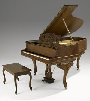 Steinway grand piano with walnut case and cabriole legs, matching bench, late 19th century. Estimate $10,000-$15,000. Rago Auctions' June 19 Estate sale. Image courtesy Rago's.