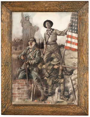 Lucien H. Jonas (French, 1880-1947) created this poster for the Allied war bond effort during World War I. It measures 30 1/4 inches by 21 1/2 inches and has a $1,500-$2,500 estimate. Image courtesy of Cowan's Auctions Inc.