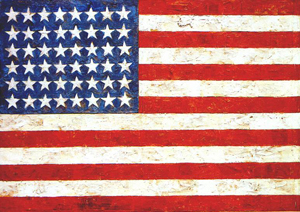 Jasper_Johns'_Flag, encaustic, oil and collage on fabric mounted on plywood,1954-55, 42 x 61 in., Museum of Modern Art, New York, 1954-55. Art copyright Jasper Johns/Licensed by VAGA, New York, NY. For fair use rationale see bottom of article.