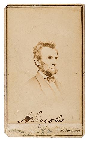 Lincoln Carte De Visite Top Earner At Cowans Amer History Sale