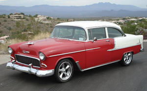 Harrison Ford drove a similar 1955 Chevy in 'American Graffiti.' Image courtesy of RM Auctions and LiveAuctioneers archives.