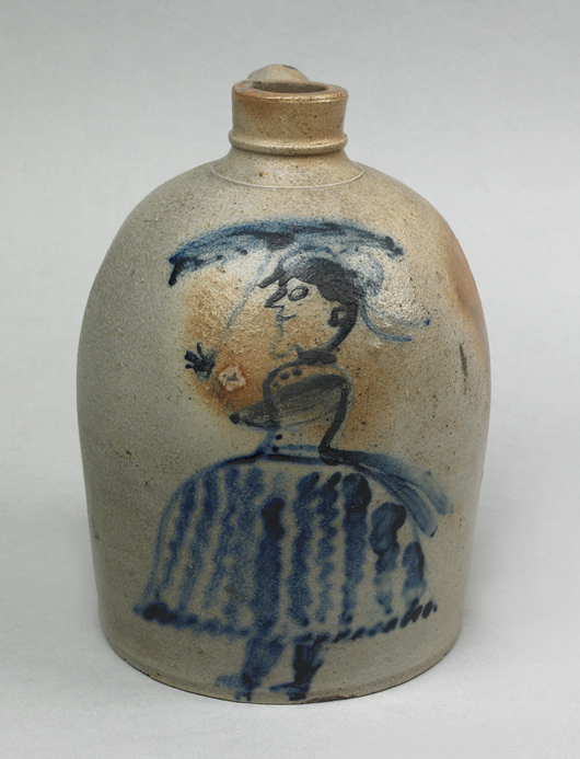 This small jug is decorated with a highly desirable human figure. The fine lady with a parasol took bidding to $53,820 in 2007. Courtesy Pook & Pook.