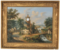 Children on a seesaw and other villagers are pictured on this picture clock. It is 33 by 44 inches, and has a working watch in the church steeple. This type of picture was known in the late 18th century, but was most popular in about 1850.