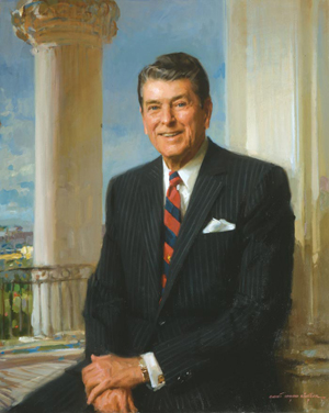 Official White House portrait of Pres. Ronald Reagan, 40th President of the United States, painted by Everett Raymond Kinstler.