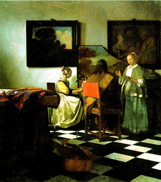 Johannes Vermeer (Dutch, 1632-1675), The Concert, circa 1664, oil on canvas. Stolen from the Isabella Stewart Gardner Museum.
