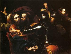 Michelangelo Merisi da Caravaggio (Italian, 1573-1610), The Taking of Christ, circa 1602, oil on canvas.