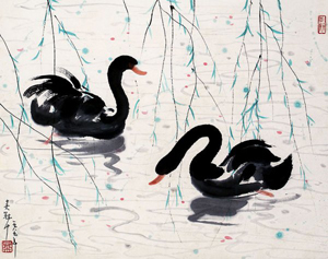 Wu Guanzhong (Chinese, 1919-2010), hand-painted ink and color scroll featuring black swans. Auctioned on Nov. 21, 2008 by Shanghai Auctions. Image courtesy of LiveAuctioneers.com Archive and Shanghai Auctions.