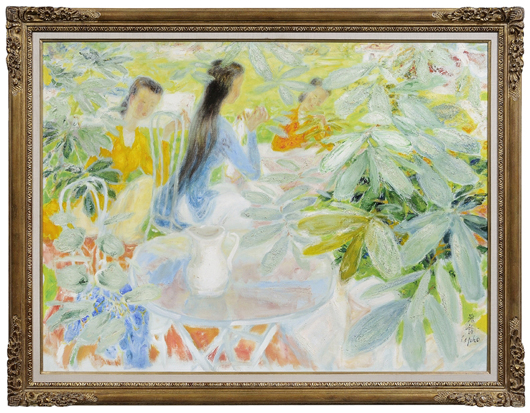 Vietnamese artist Le Pho's (1907–2001) Garden Party is a signed oil on canvas presented in its original carved and gilt wood frame. From the estate of the late Herbert and Jean Schulman of Nashville, Tennessee, its estimate is $15,000/$25,000.