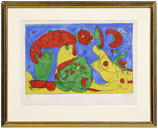 Five works by Spanish artist Jean Miro (1893–1983) are in the July 10 sale. This lithograph is the final of three states of La Nuit, l'Ours, from Suites pour Ubu Roi, published in 1966. Estimate on the three, each measuring 21-1/8 x 29-1/2 inches, is $3,000/$5,000.