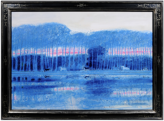 André Brasilier's (French, b. 1929-) love of horses and nature is apparent in his Les étangs bleus loupeigne (Blue Ponds), painted in 1984. From the estate of the late Herbert and Jean Schulman of Nashville, Tennessee, the signed oil on canvas is 44-3/4 x 64 inches (est. $15,000/$25,000).