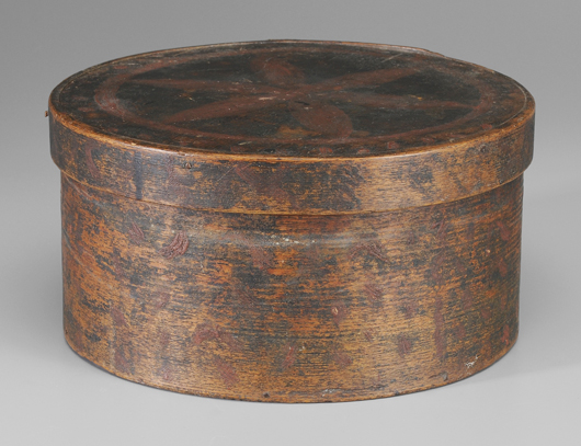 A rare find from the Moravian settlement at Salem, North Carolina, is this bentwood box with lid. The interior of the lid is inscribed to Christopher Elrod, North Carolina, Salem 1775. The box is expected to bring $2,000/$4,000.