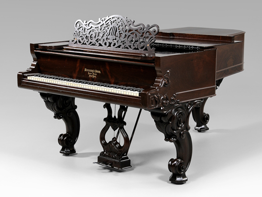 This 1873 Steinway grand piano, from a private collection, has a fine mellow tone for the ear and a rosewood case with carved scroll legs and pierced music stand for the eye. Brunk Auctions placed a pre-sale estimate on the instrument of $5,000/$$10,000.