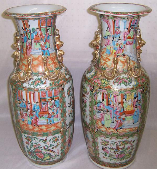 Pair of 19th-century Rose Mandarin palace vases, 24 inches tall, estimate:  $3,000-$4,000. Image courtesy of Bobby Langston Antiques.