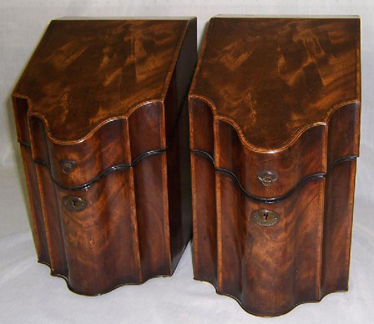 Pair of 19th-century inlaid Hepplewhite mahogany knife boxes with fitted interiors, estimate: 3,000-$5,000. Image courtesy of Bobby Langston Antiques.